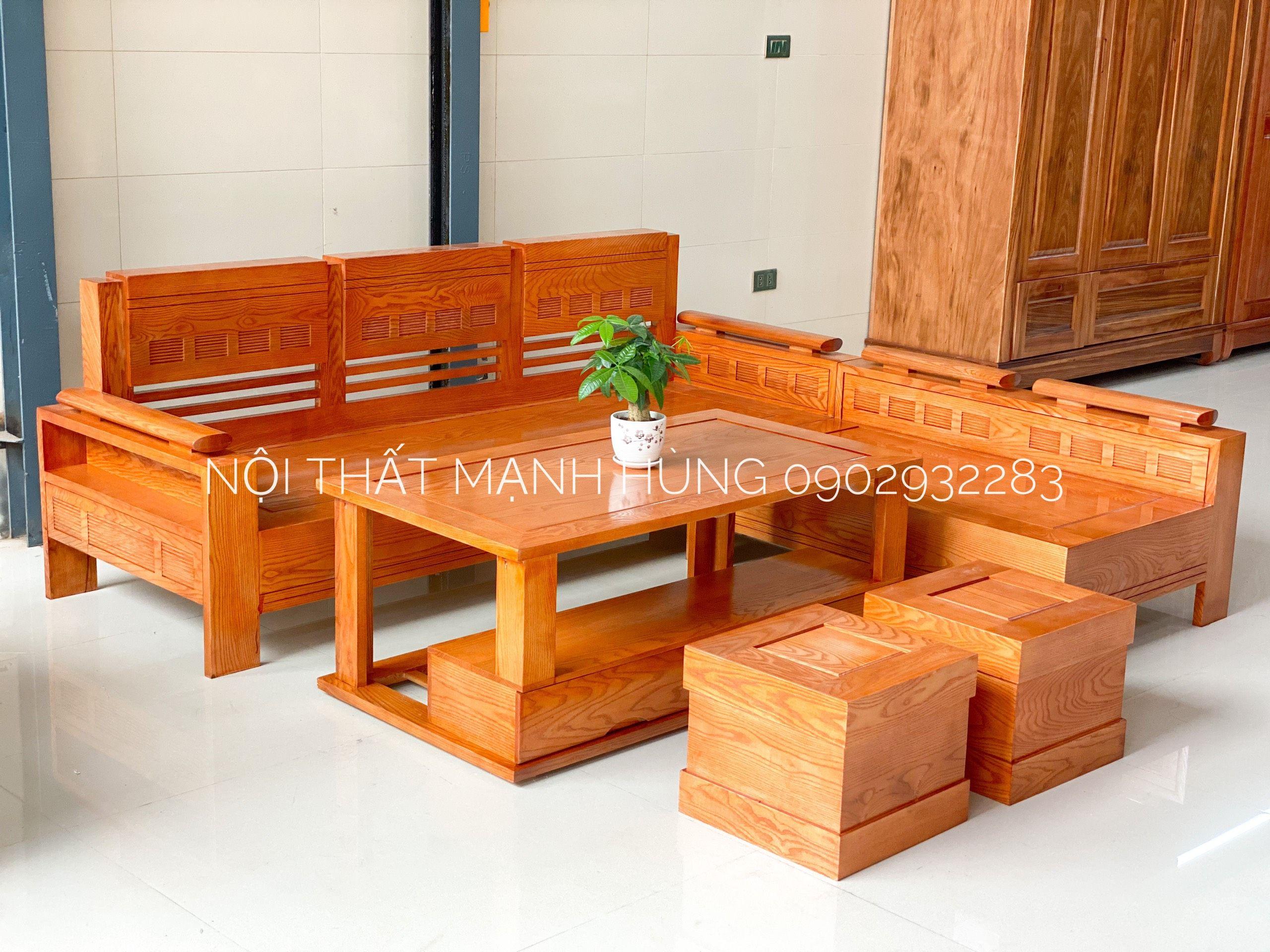Bộ sofa gỗ sồi lau màu hương