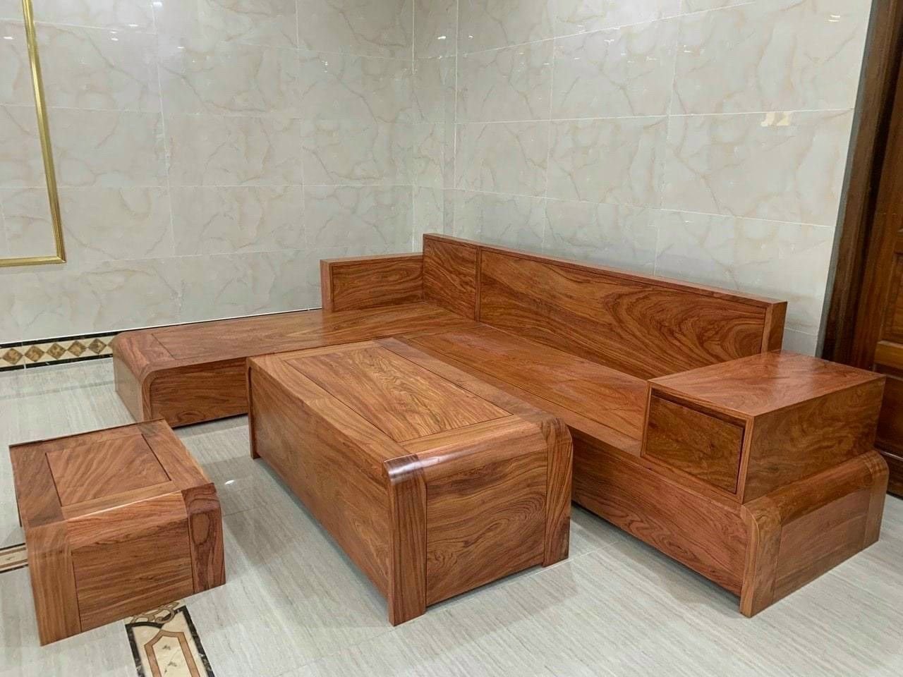 Bộ sofa góc gỗ hương 2m8m x 2m