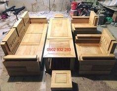 Bộ bàn ghế gỗ sồi mặt liền_ salon gỗ