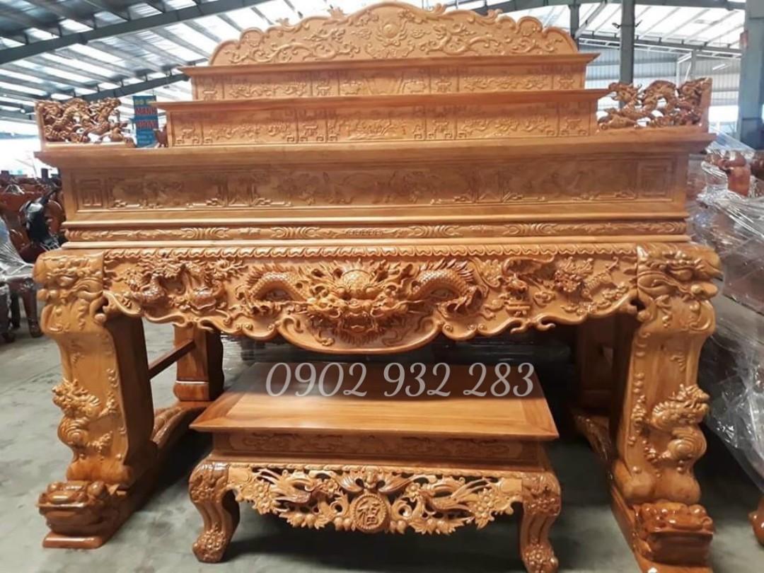 Sập thờ 3 tầng gỗ gõ đỏ 2m17 chân 20