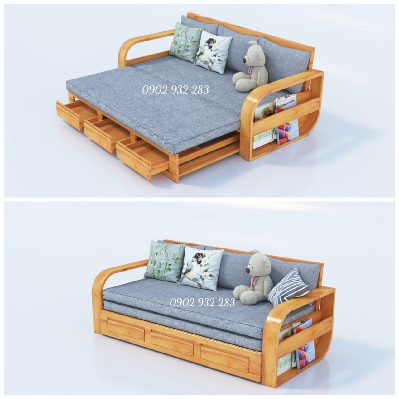 Bộ Sofa gỗ sồi ghế giường 2 trong 1