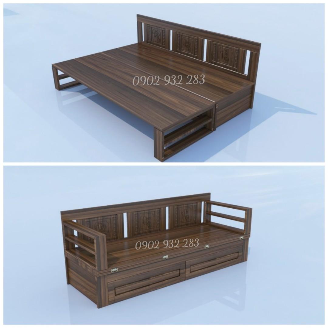 sofa ghế giường gấp gỗ sồi A 6.2 , màu óc chó